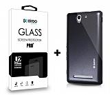 Dafoni Sony Xperia C3 Siyah Kılıf ve Eiroo Cam Ekran Koruyucu Seti