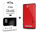 Dafoni Sony Xperia C3 Kırmızı Kılıf ve Eiroo Cam Ekran Koruyucu Seti