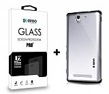 Dafoni Sony Xperia C3 Silver Kılıf ve Eiroo Cam Ekran Koruyucu Seti