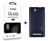 Dafoni Sony Xperia C3 Dark Silver Kılıf ve Eiroo Cam Ekran Koruyucu Seti