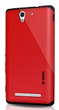 Dafoni Sony Xperia C3 Slim Power Kırmızı Kılıf