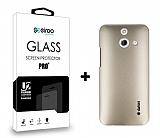 Dafoni HTC One E8 Gold K�l�f ve Eiroo Cam Ekran Koruyucu Seti