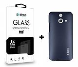 Dafoni HTC One E8 Dark Silver K�l�f ve Eiroo Cam Ekran Koruyucu Seti