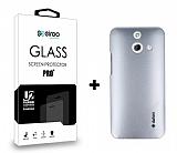 Dafoni HTC One E8 Silver Kılıf ve Eiroo Cam Ekran Koruyucu Seti