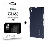 Dafoni Sony Xperia Z1 Dark Silver K�l�f ve Eiroo Cam Ekran Koruyucu Seti