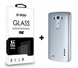 Dafoni LG G3 Silver Kılıf ve Eiroo Cam Ekran Koruyucu Seti