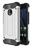 Dafoni Tough Power Motorola Moto E4 Ultra Koruma Silver Kılıf