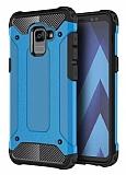 Dafoni Tough Power Samsung Galaxy A8 Plus 2018 Ultra Koruma Mavi Kılıf