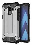 Dafoni Tough Power Samsung Galaxy A8 Plus 2018 Ultra Koruma Silver Kılıf