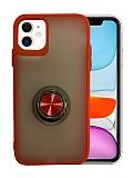 Dafoni Union Ring iPhone 11 Ultra Koruma Kırmızı Kılıf