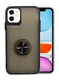 Dafoni Union Ring iPhone 11 Ultra Koruma Siyah Kılıf