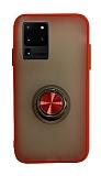 Dafoni Union Ring Samsung Galaxy S20 Ultra Süper Koruma Kırmızı Kılıf