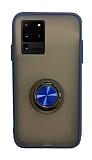 Dafoni Union Ring Samsung Galaxy S20 Ultra Süper Koruma Lacivert Kılıf