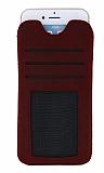 Dafoni Universal Large Çekmeli Kartlıklı Gerçek Deri Kırmızı Kılıf