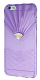 Diamond Ta�l� iPhone 6 Plus �effaf Mor Silikon K�l�f