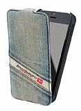 Diesel iPhone 5 / 5S Ta�lanm�� Kot C�zdanl� Dik Kapakl� K�l�f
