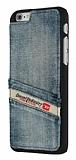 Diesel iPhone 6 / 6S Taşlanmış Kot Cüzdanlı Rubber Kılıf