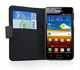 Doormoon Samsung i9100 Galaxy S2 C�zdanl� Yan Kapakl� Siyah Deri K�l�f