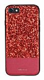 DZGOGO iPhone 7 Işıltılı Kırmızı Deri Kılıf