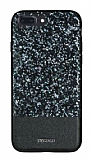 DZGOGO iPhone 7 Plus / 8 Plus Işıltılı Siyah Deri Kılıf