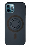 Eiroo iPhone 12 Pro Max 6.7 inç Yüzük Tutuculu Lacivert Silikon Kılıf