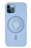 Eiroo iPhone 12 Pro Max 6.7 inç Yüzük Tutuculu Lila Silikon Kılıf