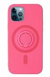 Eiroo iPhone 12 Pro Max 6.7 inç Yüzük Tutuculu Pembe Silikon Kılıf