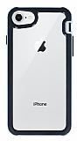 Eiroo Bumper Hybrid iPhone 6 / 6S / 7 / 8 Silver Kenarlı Şeffaf Rubber Kılıf