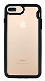 Eiroo Bumper Hybrid iPhone 6 Plus / 6S Plus / 7 Plus / 8 Plus Siyah Kenarlı Şeffaf Rubber Kılıf
