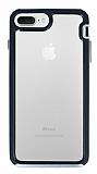 Eiroo Bumper Hybrid iPhone 6 Plus / 6S Plus / 7 Plus / 8 Plus Silver Kenarlı Şeffaf Rubber Kılıf