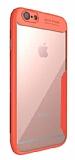 Eiroo Acrylic Hybrid iPhone 6 Plus / 6S Plus Kırmızı Kenarlı Şeffaf Rubber Kılıf