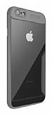 Eiroo Acrylic Hybrid iPhone 6 Plus / 6S Plus Gri Kenarlı Şeffaf Rubber Kılıf