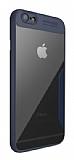 Eiroo Acrylic Hybrid iPhone 6 Plus / 6S Plus Lacivert Kenarlı Şeffaf Rubber Kılıf