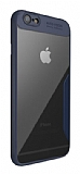 Eiroo Acrylic Hybrid iPhone SE / 5 / 5S Lacivert Kenarlı Şeffaf Rubber Kılıf