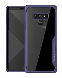 Eiroo Acrylic Hybrid Samsung Galaxy Note 9 Lacivert Kenarlı Şeffaf Rubber Kılıf