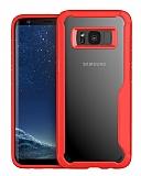 Eiroo Acrylic Hybrid Samsung Galaxy S8 Plus Kırmızı Kenarlı Şeffaf Rubber Kılıf