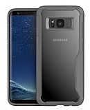 Eiroo Acrylic Hybrid Samsung Galaxy S8 Plus Gri Kenarlı Şeffaf Rubber Kılıf