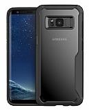 Eiroo Acrylic Hybrid Samsung Galaxy S8 Plus Siyah Kenarlı Şeffaf Rubber Kılıf