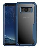 Eiroo Acrylic Hybrid Samsung Galaxy S8 Plus Lacivert Kenarlı Şeffaf Rubber Kılıf