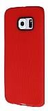 Eiroo Air Spring Samsung Galaxy S6 Edge Çizgili Kırmızı Silikon Kılıf