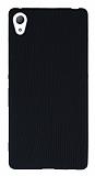 Eiroo Air Spring Sony Xperia Z3 Plus Çizgili Siyah Silikon Kılıf
