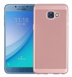 Eiroo Air to Dot Samsung Galaxy C5 Pro Delikli Rose Gold Rubber Kılıf