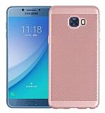 Eiroo Air to Dot Samsung Galaxy C5 Pro Delikli Rose Gold Rubber Kılıf