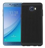Eiroo Air to Dot Samsung Galaxy C5 Pro Delikli Siyah Rubber Kılıf