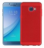 Eiroo Air to Dot Samsung Galaxy C5 Pro Delikli Kırmızı Rubber Kılıf