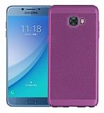 Eiroo Air to Dot Samsung Galaxy C5 Pro Delikli Mor Rubber Kılıf