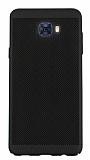 Eiroo Air To Dot Samsung Galaxy C7 Pro Delikli Siyah Rubber Kılıf