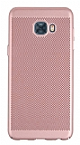 Eiroo Air To Dot Samsung Galaxy C7 Pro Delikli Rose Gold Rubber Kılıf