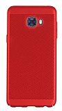 Eiroo Air To Dot Samsung Galaxy C7 Pro Delikli Kırmızı Rubber Kılıf