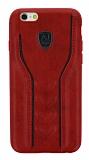 Eiroo AJ Casual iPhone 6 / 6S Deri Kırmızı Rubber Kılıf